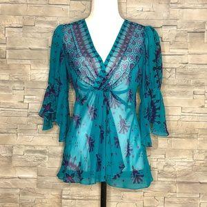 Nanette Lepore sheer green and purple blouse